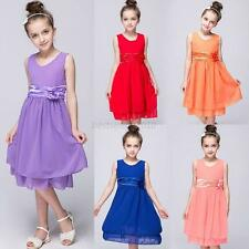 Girls Child Princess Pageant Wedding Party Formal Gown Kid Baby Tutu Dress 2-13Y