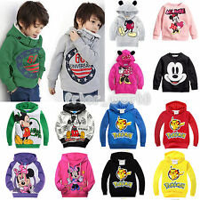 Kids Boys Girls Long Sleeve Mickey Pikachu Costume Jumper Tops Hoodie Sweatshirt