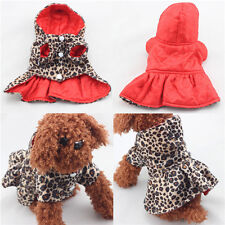 UK PET CLOTHING FOR DOGS PUPPIES CATS COAT SWEATER LEOPARD HOODIE TUTU DRESS 3H