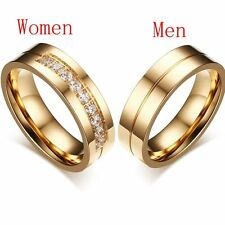 CZ Couples Wedding Band Ring 18K Gold Plated Cubic Zirconia Stainless Steel