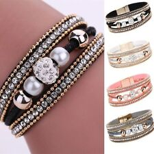 Crystal Pearl Leather Wristband Multilayer Bangle Magnetic Beaded Bracelet