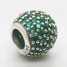 Genuine Authentic S925 Sterling Silver Green Pave Ball Charm