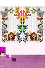 Jungle Safari Animals Window Curtain Panels for Kids Bedroom, Play Room Nursery