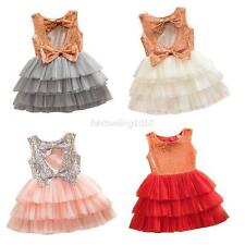 Princess Baby Kids Girls Dress Party Summer Bow Tutu Tulle Gown Formal Dresses