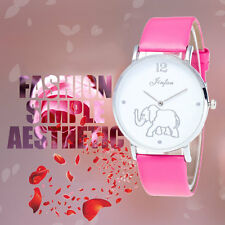 PU Leather Watchband Fashion Ladies Elephant Pattern On Dial Quartz Watch BE