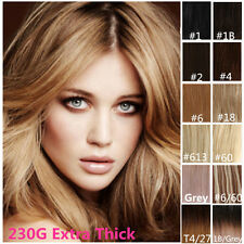 Clip in Remy Human Hair Extensions Full Head Extra Thick Premium Quality 230G
