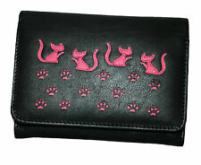 NEW WOMENS MALA LEATHER CAT PATTERN MED FLAPOVER PURSE STYLE POPPY 317055