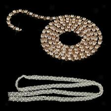 1Yd Gold Crystal Rhinestone Pearl DIY Clothes Chain Trim Sewing Craft