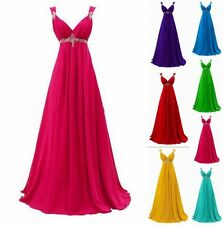 STOCK Long Chiffon Formal Gown Prom Party Ball Bridesmaid Evening Dress Size6-18