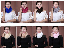 NEW Fashion Womens Girls Warm Soft Genuine Rex Rabbit Scarf Fur Pom Pom Balls