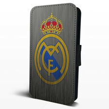 Real Madrid FC Badge Logo Faux Leather Flip Phone Case Cover iPhone Samsung