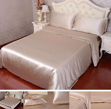 40Momme 100% Pure Silk Duvet Cover Sheets Pillow Cases Seamed Beige Aisilk
