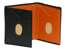 NEW Mens TRIFOLD leather wallet THUMBS SLIDE OUT 6 Card slots Real leather  SLIM
