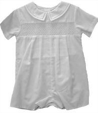 Petit Ami Baby Boys Romper White Smocked and Hat NWT Infant Sizes