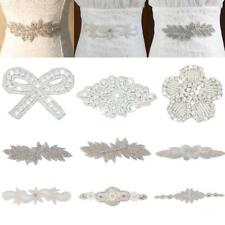Crystal Beaded Bridal Diamante Motif Rhinestone Wedding Applique Patch