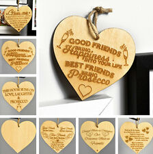 Wooden Wall Hanging Heart Plaque Friendship Sign Home Decor Best Friends Gifts