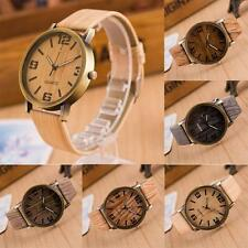 Vintage Casual Wooden Quartz Analog Leather Strap Wristwatch
