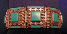 ARTISAN Signed STERLING Silver Faux TURQUOISE Ladys LINKED BRACELET