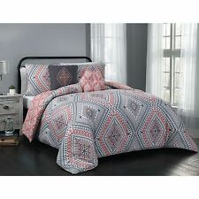 Transitional Geometric Reversible Coral Grey 5-PC Comforter Set King Queen