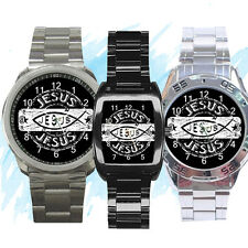 NEW Wrist Watch Stainless Sport Barrel Analogue Jesus Christ Fish Christian