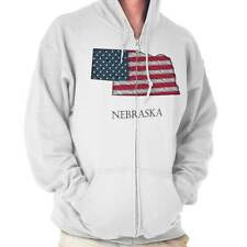 Nebraska State Pride American Flag USA Patriotic Gift Ideas Zipper Hoodie