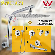 Round Rainfall Shower Head Handheld Swivel Wall Arm Bathroom Spout Mixer Tap Set