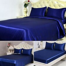 19Momme 100% Pure Silk Duvet Cover Sheets Pillowcase Seamless Navy Blue All Size