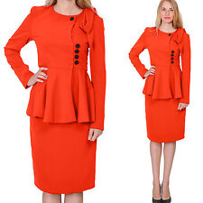 RED WOMENS  VINTAGE PEPLUM SKIRT SUIT RETRO BUSINESS FORMALCHURCH SKIRT SUITS