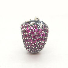 Genuine S925 Sterling Silver Red CZ Pave Strawberry Bead Charm