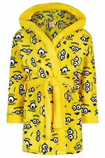 Boys Despicable Me Minions Hooded Fleece Dressing Gown Robe Age's 5-12 Years NEW