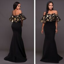 Women Formal Party Dresses Off Shoulder Sexy Ruffle Strapless Long Maxi Dress
