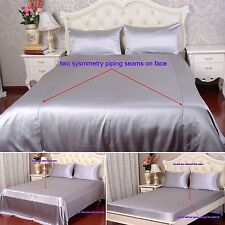 19 Momme 100% Pure Silk Duvet Quilt Cover Sheets Pillow Cases Seamed Silver