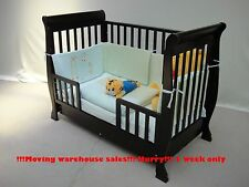 3 in1 Wooden Sleigh Baby Cot Converts To Toddler Bed, Optional Mattress