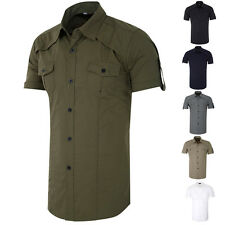 Mens Stylish Slim Fit Casual Shirts Short Sleeve Shirts Military Tops Tee M L XL