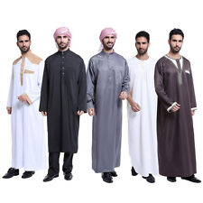 Men Saudi Thobe Galabeya Thoub Abaya Robe Dishdasha Arabic Kaftan Muslim Dress