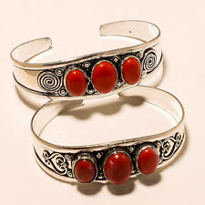 CORAL WHOLESALE LOT 2P. 925 STERLING SILVER OVERLAY BRACELET/CUFF JEWELLERY.