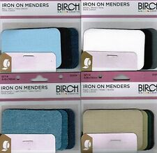 Birch IRON ON MENDERS Mending Patches x 8 Best Clothing Repair Jeans or Uniform