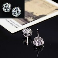 Chic Ear Stud Crown Earring Crystal 18K White Gold Plated