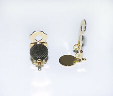 20 PCS GOLD SILVER TONE PLATED BRASS EARRING CLIP FINDINGS W/LOOP 10MM GLUE PAD