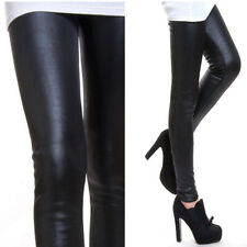 Sexy Black Tight Leather Pencil Pants Women Shiny Leggings Skinny Winter Warm