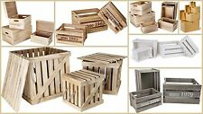 Wooden Boxes Crates Untreated White Natural Wood Lids Decor Store Practical Set