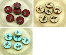 4pcs Picasso Brown Rustic Window Dragonfly Flat Coin Table Cut Window Round Czec