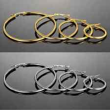 Stainless Steel Gold Or Silver Hip Hop Hoop Jewelry Fashion Earrings 4 Pairs USA