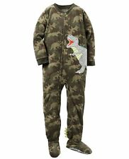 Carter's Boys 18 OR 24 Months DINOSAUR CAMOUFLAGE Fleece Footed Pajama Sleeper