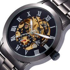 Luxury Black Dial Mens Skeleton Stainless Steel Automatic Mechanical Wrist Watch