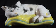Vintage Ceramic Sleepy Cat on Pillow Hand Painted Majolica Style Italy