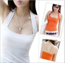 Women's Lady Low Cut Halter Neck Vest Shirts Camis Backless Solid Top 10colors