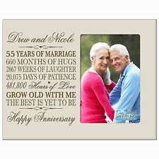 55th Anniversary Wedding Gift Personalized 4x6 Picture Photo Frame Engraved