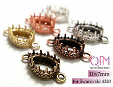 10pcs Drop Bezel Cup 10x7mm Brass 2 loops Finishes: Brass, Copper, Silver plated