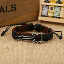 Rope Chain Women Men PU Leather Jewelry Guitar Bracelets Charm Bangles